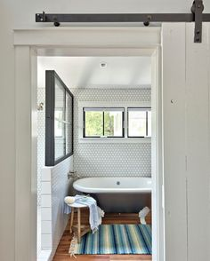 "1,212 Likes, 6 Comments - Home Bunch (Home Bunch) on Instagram: ""This #Farmhouse #bathroom has so much charm! I am loving the #reclaimed #plank #hardwoodflooring,…"""