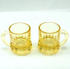 Yellow Beer Mugs Shot Glasses 2 Federal Depression Glass  Vtg. $9.00, via Etsy.