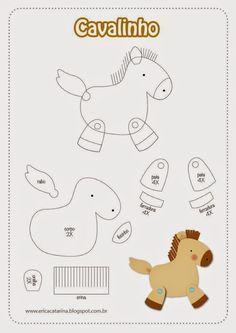 ARTESANATO COM QUIANE - Paps,Moldes,E.V.A,Feltro,Costuras,Fofuchas 3D: molde cavalinho para feltro e e.v.a