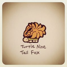 Turtle Nine Tail Fox - Wayne- Turtle Life, Tiny Turtle, Pet Turtle, Cute Turtle Drawings, Easy Drawings, Cute Turtles, Baby Turtles, Cartoon Drawings, Animal Drawings