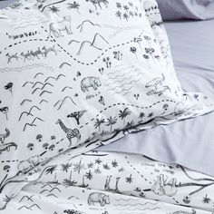 Full-Queen Jungle Map Duvet Cover   The Land of Nod