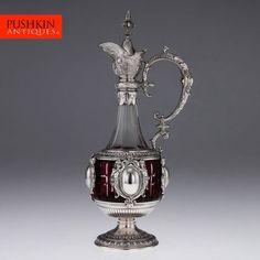 ANTIQUE 19thC RARE GERMAN SOLID SILVER & CUT GLASS MASSIVE CLARET JUG c.1880