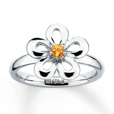 Stackable Flower Ring Citrine Sterling Silver... so cute!