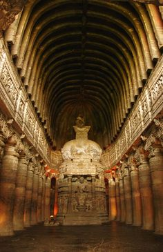 The cave at Ajanta called number which aligns to the summer solstice sunrise. As the sun rises, a beam of light penetrates this cave and illuminates the stupa and the statue of Buddha within. Buddhist Architecture, Ancient Architecture, Architecture Art, Places Around The World, Around The Worlds, Ajanta Caves, Modern World History, Buddhist Symbols, Summer Solstice