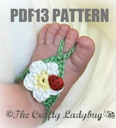 Flower barefoot sandals   crochet pattern for babies by LadybugLB2, $3.99
