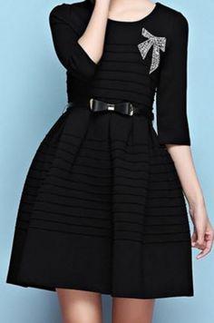 92099fc60eca1 Elegant Vintage Style Rhinestone Jewel Neck Solid Color Rhinestoned Bowknot  Belt Half Sleeve Dress For Women