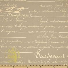 Premier Prints Penmanship Reed/Natural; only $7.48 for cotton duck. Ideal for clutch.