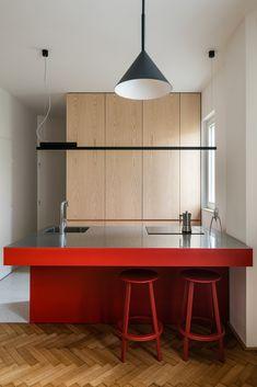 Modern Kitchen Design, Modern Interior Design, Interior Architecture, Red Kitchen, Kitchen Interior, Maids Room, House Inside, Bars For Home, Layout