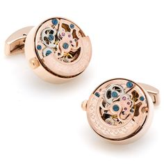 Stainless steel and rose gold kinetic watch movement cufflinks. Visit our store to view our entire cufflink collection. Watch Cufflinks, Pearl Cufflinks, Designer Cufflinks, Back Jewelry, Black Stainless Steel, Automatic Watch, Vintage Watches, Gold Watch, Jewelry Stores