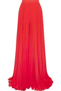 Elie Saab - Pleated Georgette Wide-leg Pants - Red - FR34