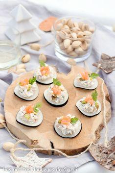 Les petites douceurs de Cricri - Recette Bouchées apéritives de radis noir à la mousse de chèvre et pistaches