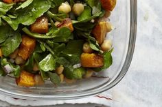 Spinach, bacon, chickpeas and roasted squash salad