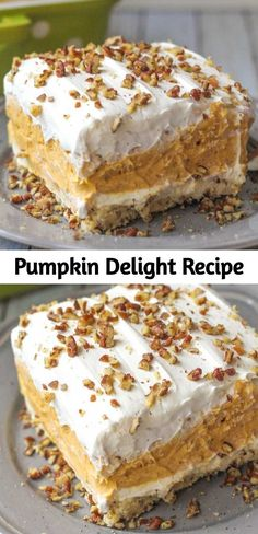 Pumpkin Delight Recipe With a buttery pecan crust, a whipped cream cheese layer, light and fluffy pumpkin spice pudding, and more whipped cream topped off with chopped pecans, this pumpkin delight dessert is absolutely irresistible! 13 Desserts, Holiday Desserts, Holiday Baking, Delicious Desserts, Dessert Recipes, Yummy Food, Light Desserts, Pudding Desserts, Pudding Cake