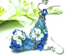Calla Lily Earrings Flower Earrings Lampwork by SeeMyJewelry