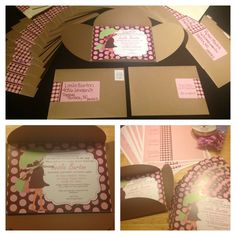 I made some cute pink and brown baby shower invites, and used water bottle labels to wrap the envelope for added interest!