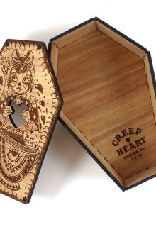 Laser Cut & Engraved Wooden Coffin Box. Spooky!