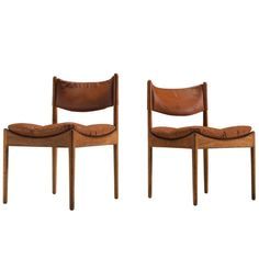 For Sale on 1stdibs - Kristian Solmer Vedel for Søren Willadsen, side chairs 'Modus', in oak and cognac leather, Denmark, 1963. This set of two side chairs is one of Vedel's