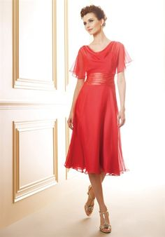 """This comes in """"espresso"""" which would fit with a fall wedding. Pretty cute """"mother of the bride"""" dress."""