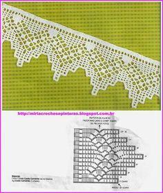 Luty Artes Crochet: Barrados com gfáficos border edging Crochet Boarders, Crochet Edging Patterns, Crochet Lace Edging, Crochet Motifs, Crochet Diagram, Crochet Chart, Thread Crochet, Crochet Trim, Knit Or Crochet