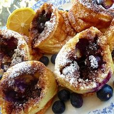 Blueberry Popovers~ You must try the lemon juice and powdered sugar on the top. It really adds to the total flavor! #National #BlueberryPopoverDay