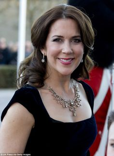 In the past, Princess Mary has worn the tiara as a neck piece (pictured) - this was taken ...
