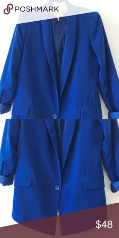 Laundry by Shelli Segal Long Blue Silky Blazer Never Worn! Laundry by Shelli Segal Jackets & Coats Blazers