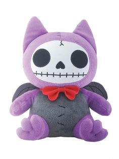 Furrybones Flappy is a cute skeleton bat stuffed animal with a red bow and wings Measures: L: x W: x H: Cute Skeleton, Red Bow Tie, Vampire Bat, Creepy Cute, Plush Dolls, Felt Dolls, Plushies, Hello Kitty, Bows