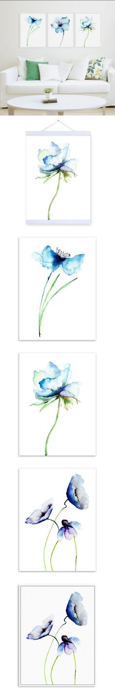 Watercolor Minimalist Alpine Orchid A4 Vintage Poster Prints Simple Flowers Picture Canvas Paintings Gifts Home Decor Wall Art $8.99
