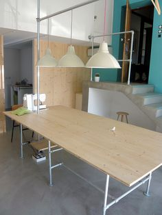sewing studio - table made with Klee Klamp fittings (pipe)