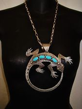 NAVAJO GIANT LIZARD TURQUOISE ETCHED PENDANT NECKLACE,120grams LEE CHARLEY