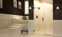 Our Geolux shower enclosure boasts a distinctive geometric profile and solid hardware.
