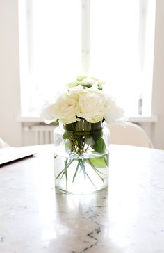 White roses on the table