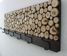 Abstract Wood Wall Art of Ocean Landscape Painting, Modern Rustic Art - Maple Wood Slice Rustic Wood Clothes Rack – Towel Rack -