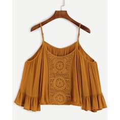 Yellow Cold Shoulder Crochet Blouse ($12) ❤ liked on Polyvore featuring tops, blouses, yellow, three quarter sleeve blouses, crochet blouse, cold shoulder blouse, collar blouse and embellished collar blouse