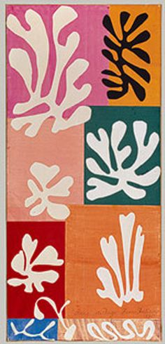 In this cut-out Matisse has used more subdued colours compared with some of his other cut-out collage work . The shapes are very organic looking and remind me of seaweed.