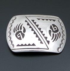 Rosco Scott (Navajo) - Double Bear Track Rectangular Sterling Silver Belt Buckle #41454 $225.00