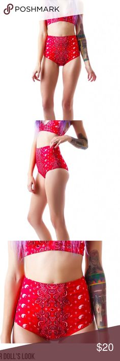 283🐰💚 Unif Zippy Hibottom bikini UNIF Bandana Zippy Hi Bottom howdy partner! This original UNIF design is so dope with the all over red paisley pattern. With a supa soft elastic feel that holds ya all in, and a retro inspired hi waisted fit, these bottoms are ready to hop in the saddle and ride.  100% Polyester Hand Wash Cold top not included UNIF Swim Bikinis