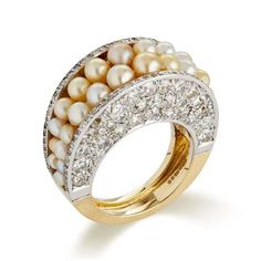 A Yellow Gold Ring set with Natural Pearls and Diamond, by Jojo Grima, 2014 (Grima)