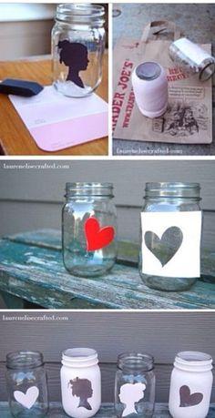 Diy silhouette mason jars