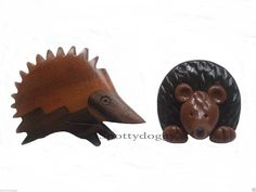 BRAND NEW - TWO CUTE HEDGEHOG BROOCHES BADGES WOOD RESIN | eBay