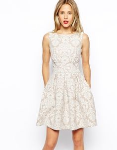 Closet Skater Dress in Damask Jacquard