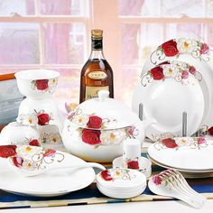 Find More   Information about Quality ceramic tableware china suppling 56 tableware sets blossom roses,High Quality  ,China   Suppliers, Cheap   from PRIX on Aliexpress.com US $20.00off $500.00 Vaild for 4 days US $20.00 off per US $500.00 Get US $20.00 off for single orders greater than US $500.00. When you purchase more than one item, please cart to get the discount. Time remaining for promotion: 4d 23h 58m 29s