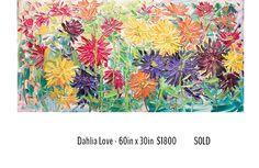 Italy Travel, Impressionist, Dahlia, Original Art, Vibrant, Tapestry, Paris, Canvas, Floral