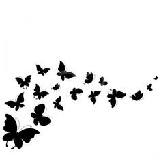 A bold black outline of butterflies that flow across the design. Butterfly Drawing, Butterfly Wall Art, Butterfly Wall Stickers, Butterfly Stencil, Butterfly Eyes, Butterfly Fairy, Silhouette Tattoos, Silhouette Painting, Girl Silhouette