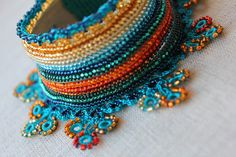Beaded Crochet Cuff | Anagallis Arvensis... Beaded Crochet Cuff - Turquoise Blue Orange ...