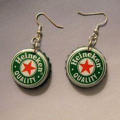 earrings make by Beer cap