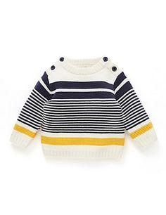 Pure Cotton Striped Jumper   M&S