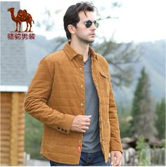 Camel men's jacket business casual solid straight lapel single breasted mens jacket and coat
