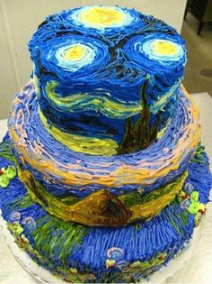 Van Gogh Cake  starry, starry night, paint your palette blue and grey (8)
