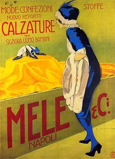"""Anno: 1912 Soggetto: """"Mele& C.i, mode, confezioni stoffe, calzature per uomo e bambino"""" Provenienza: Raccolta Salce,Civico Museo Bailo, Treviso Note: Stampa Officine Ricordi, Milano"""